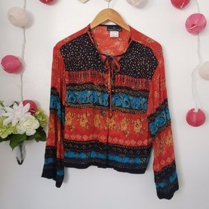 CAROL LITTLE boho chic vintage beaded blouse